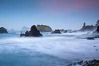 Dawn over the sea stacks at Crescent City, California