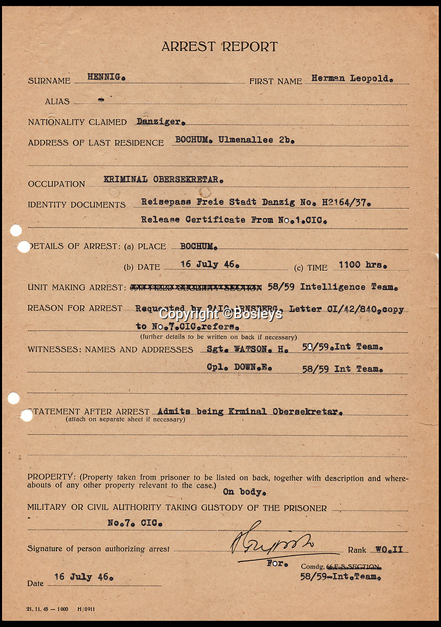 BNPS.co.uk (01202 558833)Pic: Bosleys/BNPS<br /> <br /> Herman Hennig arrest report.<br /> <br /> Paper Trail...Sqn Ldr frank McKenna's meticulous investigation is revealed in the fascinating dossier.<br /> <br /> Remarkable top secret documents relating to the investigation into the murder of 50 prisoners of war who took part in the Great Escape have come to light.<br /> <br /> The papers made up a dossier put together by the RAF Special Investigation Branch which had the job of finding the German killers of the Allied airmen who took part in the high-profile escape.<br /> <br /> The documents, that include custody mugshot photos and fingerprints of Gestapo suspects, have been put up for sale through Bosley's Auctioneers.