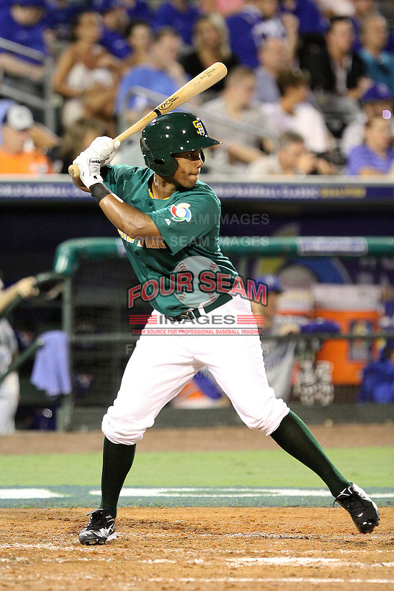 Karl Weitz #8 of Team South Africa at bat during a game against Team Israel at Roger Dean Stadium on September 19, 2012 in Jupiter, Florida. Team Israel defeated Team South Africa 7-3.  (Stacy Jo Grant/Four Seam Images).