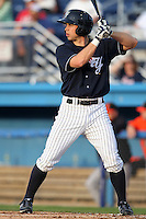 Empire State Yankees outfielder Colin Curtis #9 during a game against the Norfolk Tides in the first ever Triple-A contest to be held at Dwyer Stadium on April 20, 2012 in Batavia, New York.  (Mike Janes/Four Seam Images)