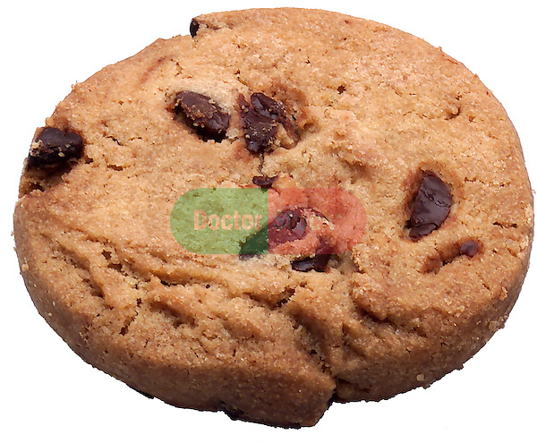 chocolate chip cookie on shadowless white background