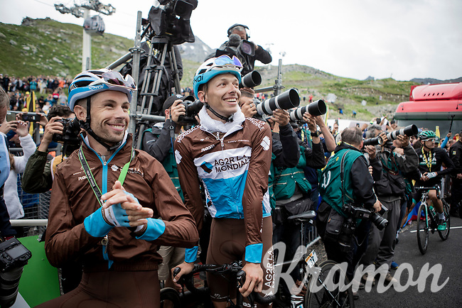 Oliver Naesen (BEL/AG2R-La Mondiale) & Mickaël Cherel (FRA/AG2R-La Mondiale) stick around for the podium ceremony to cheer for their friend & teammate Romain Bardet who is the winner for the Polka Dot Jersey<br /> <br /> shortened stage 20: Albertville to Val Thorens(59km in stead of the original 130km due to landslides/bad weather)<br /> 106th Tour de France 2019 (2.UWT)<br /> <br /> ©kramon