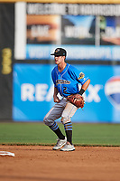 Akron RubberDucks shortstop Ernie Clement (2) during a game against the Harrisburg Senators on August 18, 2018 at FNB Field in Harrisburg, Pennsylvania.  Akron defeated Harrisburg 5-1.  (Mike Janes/Four Seam Images)