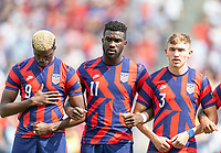 KANSAS CITY, KS - JULY 18: Gyasi Zardes #9 Daryl Dike #11 Sam Vines #3 of the United States during a game between Canada and USMNT at Children's Mercy Park on July 18, 2021 in Kansas City, Kansas.