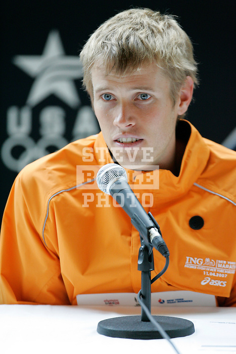 Ryan Hall answers questions at a press conference following the 2008 Men's Olympic Trials Marathon on November 3, 2007 in New York, New York.  The race began at 50th Street and Fifth Avenue and finished in Central Park.  Hall won the race with a time of 2:09:02.