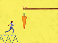 Carrot dangling in front of businesswoman running on treadmill