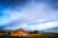 Moulton Barn Sunrise (wide) - Wyoming - Grand Teton NP
