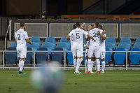 SAN JOSE, CA - OCTOBER 03: LA Galaxy players celebrate a goal during a game between Los Angeles Galaxy and San Jose Earthquakes at Earthquakes Stadium on October 03, 2020 in San Jose, California.