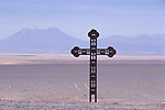 Atacama Desert Chile Huge cross marks the symbolic place where many of The Disappeared were buried victims of General Pinochet Caravan of Death. 2000s