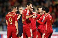 Spain's Paco Alacer, Sergio Busquets, Koke Resurreccion, Jordi Alba and Pedro Rodriguez celebrate goal during 15th UEFA European Championship Qualifying Round match. November 15,2014.(ALTERPHOTOS/Acero) /NortePhoto nortephoto@gmail.com