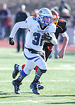 Pahranagat Valley's Christian Higbee outruns Whittell's Aubrey Felton during the second half of the NIAA DIV championship game at Dayton High School in Dayton, Nev., on Saturday, Nov. 21, 2015. Pahranagat Valley won the state title 54-28. (Cathleen Allison/Las Vegas Review Journal)