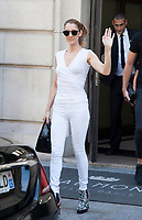 August 7 2017, Paris, France - Singer Celine Dion, with her son Eddy, and her dancer Pepe Munoz, leave the Royal Monceau Hotel on Avenue Hoche in Paris. # CELINE DION ET PEPE MUNOZ SORTENT DU 'ROYAL MONCEAU' A PARIS