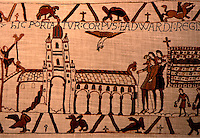 Visual Arts:  Bayeaux Tapestry #4.  The body of Edward the Confessor being taken to Westminster Abbey, January 1066. The hand of God means that it's already been consecrated.