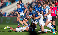 3rd October 2021; AJ Bell stadium, Eccles, Greater Manchester, England: Gallagher Premiership Rugby, Sale v Exeter ;  Marland Yarde of Sale Sharks releases the ball under pressure from Chiefs