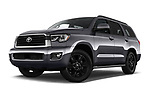Stock pictures of low aggressive front three quarter view of a 2018 Toyota Sequoia TRD Sport 5 Door SUV