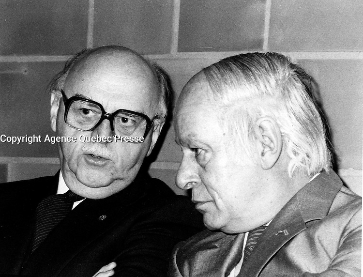 Montreal (QC) CANADA  January 11 , 1984 file photo - Jean Drapeau, Montreal Mayor (L) talk with Rene Levesque, Quebec Premier (R) at the inauguration of the metro orange line extension to Du College  station<br /> <br /> <br />  -