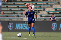 CARY, NC - SEPTEMBER 12: Abby Erceg #6 of the North Carolina Courage plays the ball during a game between Portland Thorns FC and North Carolina Courage at Sahlen's Stadium at WakeMed Soccer Park on September 12, 2021 in Cary, North Carolina.