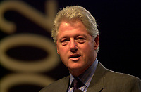 February 25, 2002, Adelaide, Autralia<br /> <br /> Former US president Bill Clinton adress the audience at the World Congress on information Technologies (IT) which concluded in Adelaide Thursday, February 28, 2002.<br /> <br /> It is rumored that Clinton received more than is usual 100 000 US $ fee for the conference<br /> <br /> Mandatory Credit: Photo by Peter Mathew / EventPix-