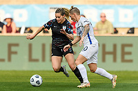 BRIDGEVIEW, IL - JULY 18: Kealia Watt #2 of the Chicago Red Stars dribbles the ball as Jessica Fishlock #10 of the OL Reign defends during a game between OL Reign and Chicago Red Stars at SeatGeek Stadium on July 18, 2021 in Bridgeview, Illinois.