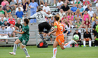 Jenni Branam comes out of her penalty box to clear the ball..Sky Blue FC defeated Saint Louis Athletica 1-0 at Anheuser-Busch Soccer Park, Fenton, MO.