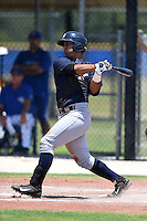 GCL Yankees 2 catcher Jake Hernandez (59) at bat during a game against the GCL Blue Jays on July 2, 2014 at the Bobby Mattick Complex in Dunedin, Florida.  GCL Yankees 2 defeated GCL Blue Jays 9-6.  (Mike Janes/Four Seam Images)