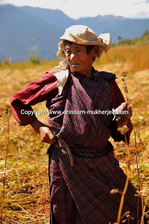 An old Bhutanese lady working in her field. Arindam Mukherjee..