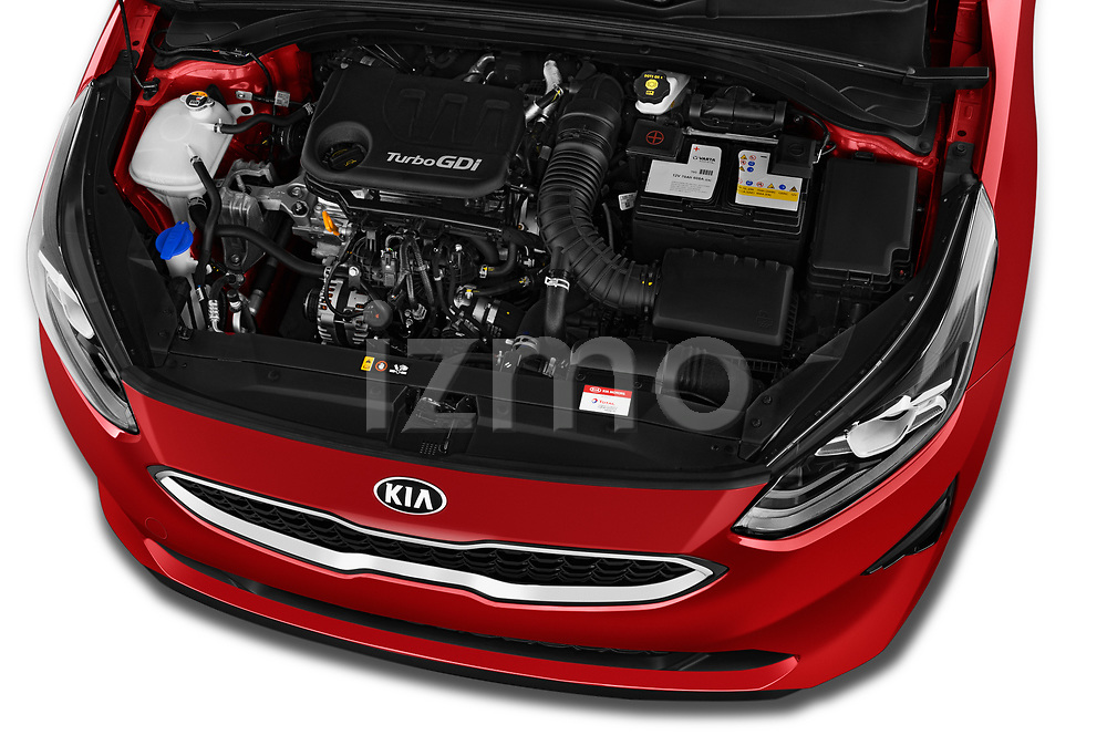 Car Stock 2019 KIA Ceed More 5 Door Hatchback Engine  high angle detail view
