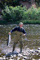 "Europe/Grande-Bretagne/Ecosse/Moray/Speyside/Spey River : Ian Gordon ""gilly"" guide de pêche - Pêche au saumon à la mouche- Prise d'un saumon [Non destiné à un usage publicitaire - Not intended for an advertising use]"