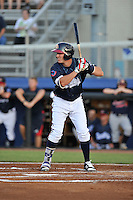 Designated hitter Brett Cumberland (26) of the Danville Braves bats in a game against the Johnson City Cardinals on Friday, July 1, 2016, at Legion Field at Dan Daniel Memorial Park in Danville, Virginia. Johnson City won, 1-0. (Tom Priddy/Four Seam Images)