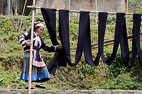 A woman of the ethnic Bouyei Tribe dries dyed cloth at home at Wangmo County in China's southwestern Guizhou Province, April 2019.
