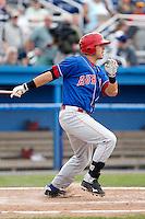 Auburn Doubledays third baseman Matt Skole #23 during a game against the Batavia Muckdogs at Dwyer Stadium on September 4, 2011 in Batavia, New York.  Batavia defeated Auburn 4-2.  (Mike Janes/Four Seam Images)