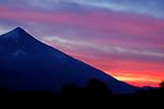 The Lanin Volcano at sunset on the Rio Malleo, Argentina.