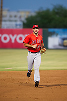AZL Angels shortstop Nonie Williams (27) jogs off the field between innings of the game against the AZL White Sox on August 14, 2017 at Diablo Stadium in Tempe, Arizona. AZL Angels defeated the AZL White Sox 3-2. (Zachary Lucy/Four Seam Images)