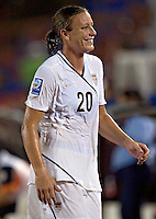 Action photo of Abby Wambach of USA at the 2010 CONCACAF Women's World Cup Qualifying tournament held at Estadio Quintana Roo in Cancun, Mexico.