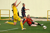 Lauren Cheney watches after shooting her first of two goals.  The USA was victorious over Sweden 2-0 in Ferreiras on March 1, 2010 at the Algarve Cup.