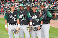 June 17th 2008:  Edilio Colina (51 - Wisconsin Timber Rattlers), Jair Fernandez (26 - Beloit Snappers), Renny Osuna (35 - Clinton Lumberkings), Neftali Feliz (far right with glove - Clinton Lumberkings), and Kennil Gomez (back - Clinton Lumberkings) before the Midwest League All-Star Game at Dow Diamond in Midland, MI.  Photo by:  Mike Janes/Four Seam Images