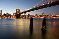 Brooklyn Bridge and the Manhattan Skyline as seen from Brooklyn across the East River.