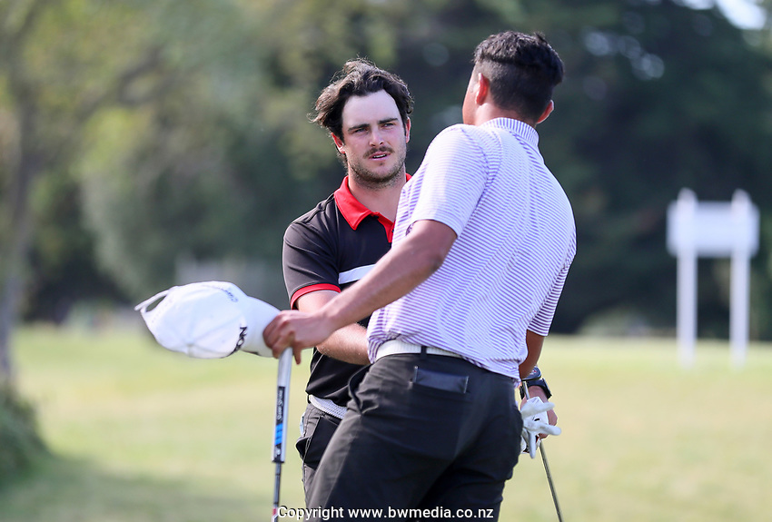 Charlie Smail defeats Mako Thompson in their semi final match during the New Zealand Amateur Golf Championship, Poverty Bay Golf Course, Awapuni Links, Gisborne, Saturday 24 October 2020. Photo: Simon Watts/www.bwmedia.co.nz