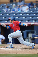 Tim Lopes (5) of the Buffalo Bison follows through on his swing against the Durham Bulls at Durham Bulls Athletic Park on April 25, 2018 in Allentown, Pennsylvania.  The Bison defeated the Bulls 5-2.  (Brian Westerholt/Four Seam Images)