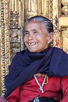 Nepal, Changu Narayan.  Old Newari Hindu Woman.