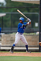 GCL Blue Jays left fielder Warnel Valdez (16) at bat during a game against the GCL Phillies East on August 10, 2018 at Carpenter Complex in Clearwater, Florida.  GCL Blue Jays defeated GCL Phillies East 8-3.  (Mike Janes/Four Seam Images)