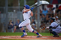 South Dakota State Jackrabbits shortstop Gus Steiger (3) bats during a game against the FIU Panthers on February 23, 2019 at North Charlotte Regional Park in Port Charlotte, Florida.  South Dakota State defeated FIU 4-3.  (Mike Janes/Four Seam Images)