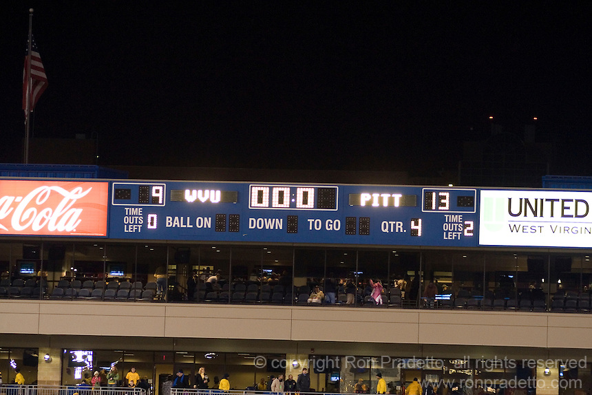 The scoreboard tells the story as the Pitt Panthers upset the West Virginia Mountaineers 13-9 on December 01, 2007 in the 100th edition of the Backyard Brawl at Mountaineer Field, Morgantown, West Virginia.