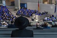 Deutscher Bundestag gedenkt am Internationalen Holocaustgedenktag der Opfer des Nationalsozialismus.<br /> Im Bild: Ein juedischer Teilnehmer der Gedenkstunde mit traditionellem Hut.<br /> 27.1.2021, Berlin<br /> Copyright: Christian-Ditsch.de
