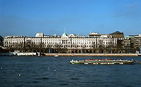 London:  Thameside Walk #6.  Somerset House.  The River Facade--800 ft. long--by Sir Robert Smirke, 1830-35.  Photo '90.