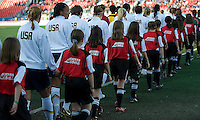 USA women's national team walks onto the field. The US Women's National Team defeated the Canadian Women's National Team, 4-0, at BMO Field in Toronto during an international friendly soccer match on May 25, 2009.