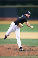 Wake Forest Demon Deacons relief pitcher Chris Farish (32) follows through on his delivery against the Clemson Tigers at David F. Couch Ballpark on March 12, 2016 in Winston-Salem, North Carolina.  The Tigers defeated the Demon Deacons 6-5.  (Brian Westerholt/Four Seam Images)