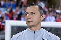 HOUSTON, TX - FEBRUARY 03: Vlatko Andonovski of the United States watches his team during a game between Costa Rica and USWNT at BBVA Stadium on February 03, 2020 in Houston, Texas.