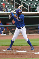 Iowa Cubs outfielder Junior Lake (21) at bat during a Pacific Coast League game against the Colorado Springs Sky Sox on May 10th, 2015 at Principal Park in Des Moines, Iowa.  Iowa defeated Colorado Springs 14-2.  (Brad Krause/Four Seam Images)