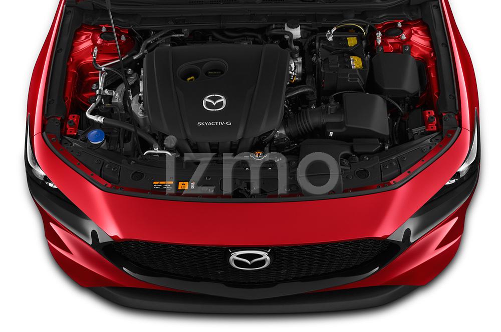 Car Stock 2019 Mazda Mazda3 Skydrive 5 Door Hatchback Engine  high angle detail view